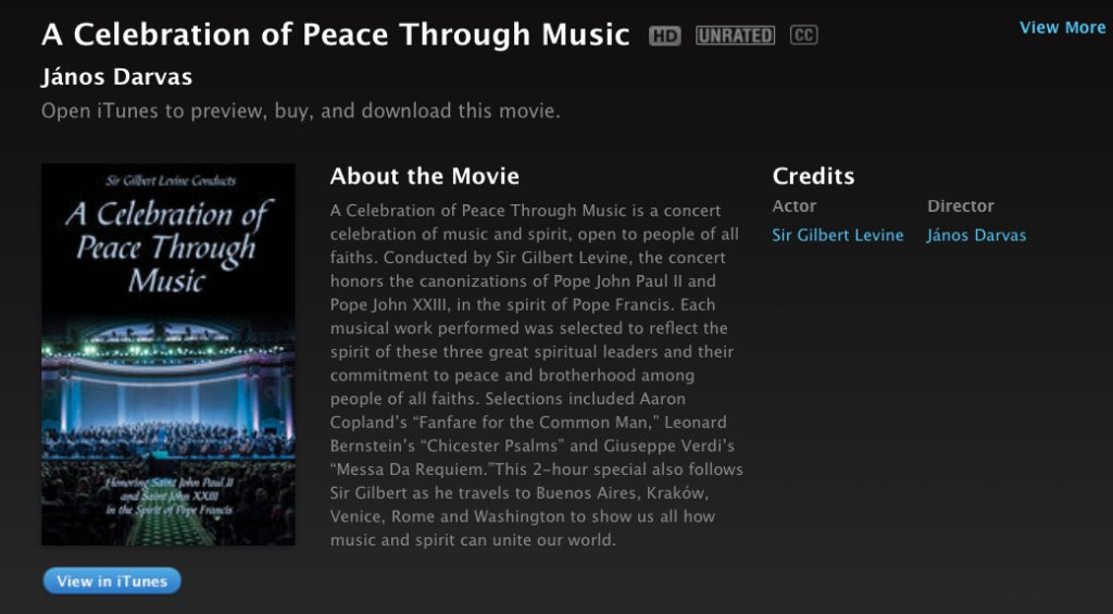 A Celebration of Peace Through Music on iTunes - screenshot